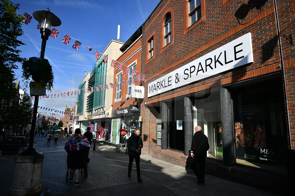 © Licensed to London News Pictures. 18/05/2018. London, UK. Marks & Spencers store in Windsor which has renamed itself MARKLE & SPARKLE. Prince Harry and Meghan Markle are to be married tomorrow (Saturday) at St George's Chapel in Windsor. Photo credit: Ben Cawthra/LNP
