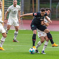 07.10.2020, wohninvest Weserstadion Platz 11, Bremen, GER, FSP SV WERDER BREMEN  vs 1. FC St. Pauli<br /> <br /> im Bild / picture shows <br /> <br /> Kevin Möhwald / Moehwald (Werder Bremen #06)<br /> Christian Stark  (FC ST.PAULI #38)<br /> <br /> Foto © nordphoto / Kokenge