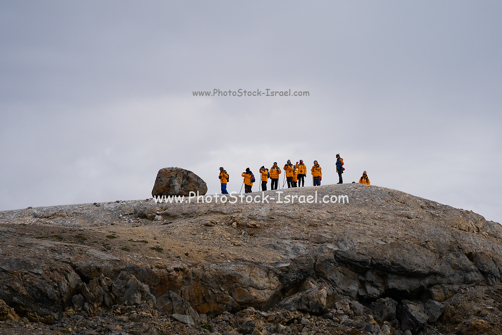 Adventure cruise passengers a group of travelers in the arctic Photographed in Spitsbergen, Norway in July