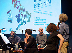 New Music Biennial <br /> a weekend of free music<br /> a PRS for Music Foundation initiative in partnership with Creative Scotland, Arts Council England and the British Council. In collaboration with Radio 3 , NMC Recordings, Southbank Centre Glasgow UNESCO City of Music and Sinfini Music.<br /> at The Southbank Centre, London, Great Britain<br /> 5th July 2014 <br /> <br /> day 2<br /> <br /> Love songs you compose to be formed by Juice <br /> <br /> Sounding Out Digital: New Platforms produced by Sound & Music <br /> <br /> One to One Composers Surgeries <br /> <br /> Arlene Sierra: Urban Birds <br /> <br /> Yann Seznec: Currents<br /> <br /> David Sawer : Bronze and Iron performed by Onyx Brass<br /> <br /> Out of thin air! A Family workshop on composing music with Stephen Montague<br /> <br /> Niraj Chag: You Run on Tracks, Not Roads commissioned by Arts Depot <br /> <br /> Gwilym Simcock: On a Piece of Tapestry <br /> commissioned by City of London Sinfonia<br /> also with narration by John Sessions<br /> <br /> Samuel Bordoli: Grind with the Roundhouse Choir <br /> Commissioned by Tete a Tete <br /> <br /> Rants <br /> Institute of Composing <br /> <br /> Matthew Herbert : 20 Pianos<br /> Commissioned by Third Ear Music <br /> <br /> Lau : The Bell That Never Rang<br /> Elysian Quartet <br /> Commissioned by Celtic Connections Festival<br /> <br /> Mary Ann Kennedy: Aiseag (The Ferryboat) <br /> Commissioned by Watercolour Music <br /> with compose Scott MacMillan <br /> poet Aonghas MacNeacail and producer Nick Turner and the Inverness Gaelic Choir <br /> <br /> Photograph by Elliott Franks