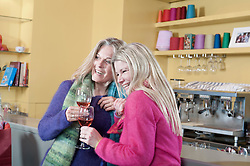 Two friends drinking wine in bar and smiling, Bavaria, Germany