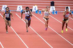 05-03-2017  SRB: European Athletics Championships indoor day 3, Belgrade<br /> Asha Philip GBR wint de 60 meter in 7.06, rechts Rebekka Haase GER, links Floriane Gnafoua FRA