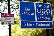 London, UK. Wednesday 25th July 2012. Games lanes signs on the Olympic Route Network. Transport is a huge issue in and around the London 2012 Olympic Games. With many roads closed off to regular traffic, the inevitable problems occur.
