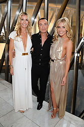 Left to right, MELISSA ODABASH, MOLLIE KING and JULIEN MACDONALD at the launch of the Odabash Macdonald Resort 2014 swimwear collection at ME Hotel, London on 25th June 2013.