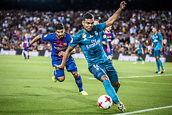 August 13, 2017 - Barcelona, Catalonia, Spain - Real Madrid midfielder CASEMIRO competes with FC Barcelona forward SUAREZ for the ball during the Spanish Super Cup Final 1st leg between FC Barcelona and Real Madrid at the Camp Nou stadium in Barcelona (Credit Image: © Matthias Oesterle via ZUMA Wire)