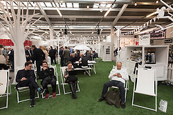 © Licensed to London News Pictures. 07/04/2016. The cafe are at The London Coffee Festival. Now its 4th year, will attract over 35,00 visitors over the four day event. London, UK. Photo credit: Ray Tang/LNP