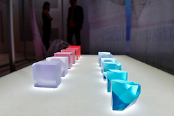 "© Licensed to London News Pictures. 27/06/2017. London, UK. ""Crystal Stones"", 2017, depicting morning light.  Preview of ""Breathing Colour"", an exhibition by acclaimed designer Hella Jongerius, at the Design Museum, Kensington which comprises a series of newly commissioned installations exploring humans perceptions and connections to colour.  The exhibition runs from 28 June to 24 September 2017.  Photo credit : Stephen Chung/LNP"