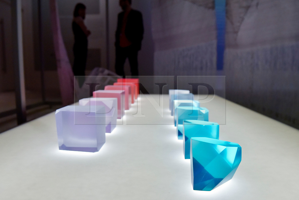 """© Licensed to London News Pictures. 27/06/2017. London, UK. """"Crystal Stones"""", 2017, depicting morning light.  Preview of """"Breathing Colour"""", an exhibition by acclaimed designer Hella Jongerius, at the Design Museum, Kensington which comprises a series of newly commissioned installations exploring humans perceptions and connections to colour.  The exhibition runs from 28 June to 24 September 2017.  Photo credit : Stephen Chung/LNP"""