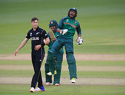 Bangladesh's Mahmudullah celebrates his side's victory over New Zealand in the ICC Champions Trophy, Group A match at Sophia Gardens, Cardiff.