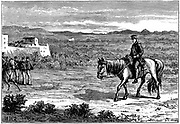 First Anglo-Afghan War 1838-1842): Dr Brydon, the only survivor of the 4,500 British soldiers and 12,000 camp-followers who left Cabul (Kabul) on 6 January 1842 to escape, arriving at Jellalabad with news of the disaster, 13 January . Wood engraving c.1890
