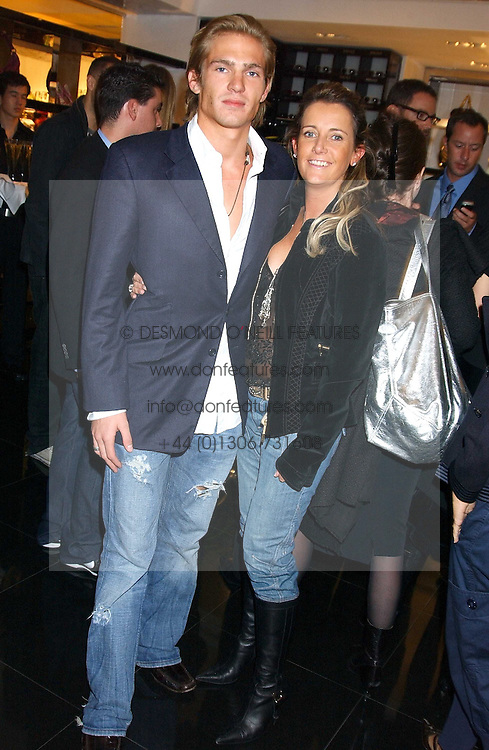 JACOBI ANSTRUTHER-GOUGH-CALTHORPE and SAM PEMBERTON at a party hosted by Versace during London Fashion Week 2005 at their store in Slaone Street, London on 19th September 2005.<br /><br />NON EXCLUSIVE - WORLD RIGHTS