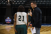 April 2, 2016; Indianapolis, Ind.; Head coach Ryan McCarthy talks to Keiahnna Engel during their practice session at Bankers Life Fieldhouse.