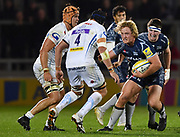 Sale Sharks prop Ross Harrison  runs at Exeter Chiefs second-row Mitch Lees during the The Aviva Premiership match Sale Sharks -V- Exeter Chiefs  at The AJ Bell Stadium, Salford, Greater Manchester, England on Friday, October 27, 2017. (Steve Flynn/Image of Sport)