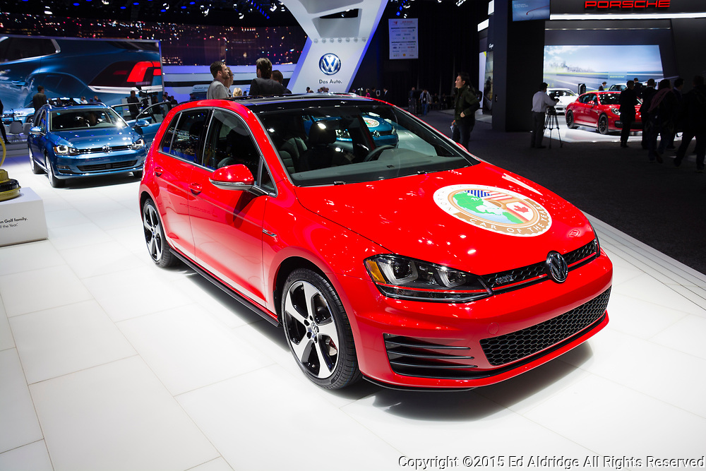 DETROIT, MI, USA - JANUARY 12, 2015: Volkswagen Golf on display during the 2015 Detroit International Auto Show at the COBO Center in downtown Detroit.