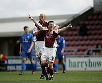 Photo: Marc Atkins.<br /> <br /> Northampton Town v Rochdale. Coca Cola League 2. 08/04/2006. Scott McGleish of Northampton (R) is congratulated by Josh Low (L)