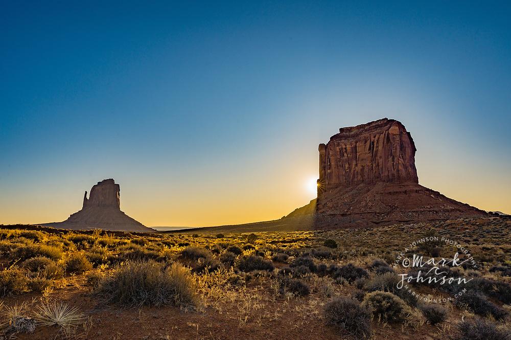 East Mitten Butte (left) & Merrick Butter, Monument Valley Navajo Tribal Park, Navajo Reservation, Arizona, USA
