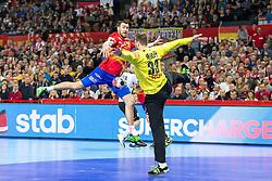 16.01.2016, Hala Stulecia, Breslau, POL, EHF Euro 2016, Spanien vs Deutschland, Gruppe C, im Bild Gedeon Guardiola (Nr. 30, Rhein-Neckar Loewen) im Konter gegen Andreas Wolff (Nr. 33, HSG Wetzlar) // during the 2016 EHF Euro group C match between Spain and Germany at the Hala Stulecia in Breslau, Poland on 2016/01/16. EXPA Pictures © 2016, PhotoCredit: EXPA/ Eibner-Pressefoto/ Koenig<br /> <br /> *****ATTENTION - OUT of GER*****