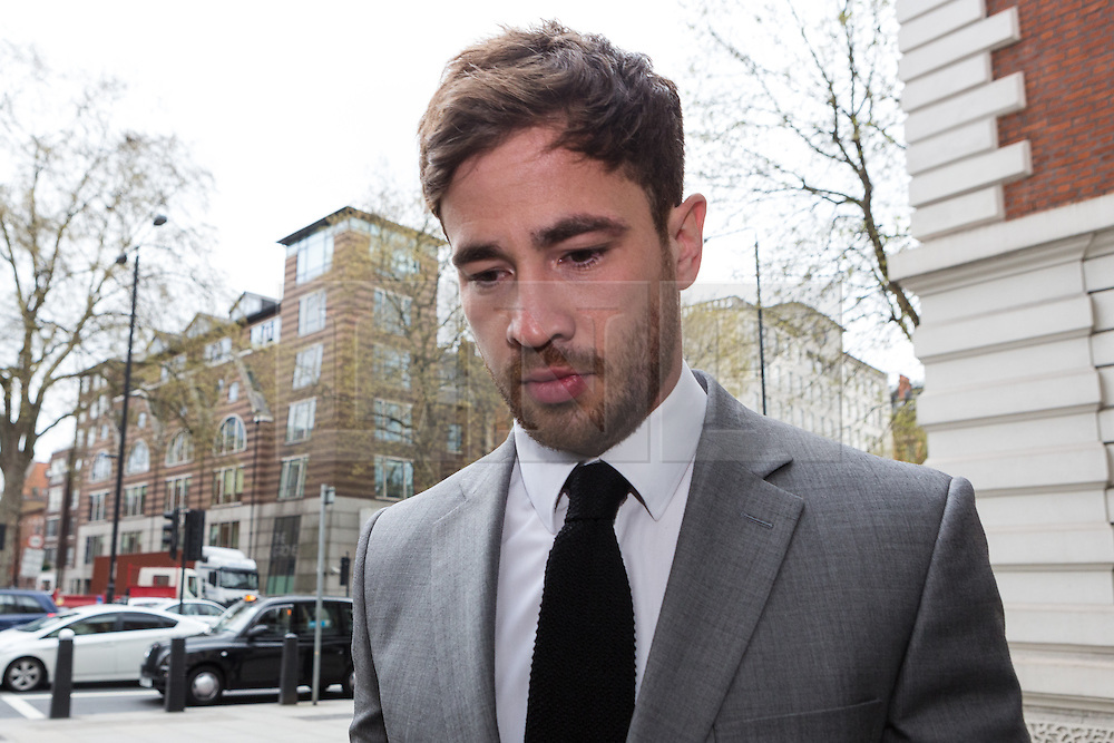 © Licensed to London News Pictures. 22/04/2016. London, UK. DANNY CIPRIANI arrives at at Westminster Magistrates Court. The Sale Sharks rugby player appears in connection with alleged drink driving charges following a collision between his Mercedes and a Toyota in the Chelsea area of west London shortly after 5am on 1st June. Photo credit : Vickie Flores/LNP