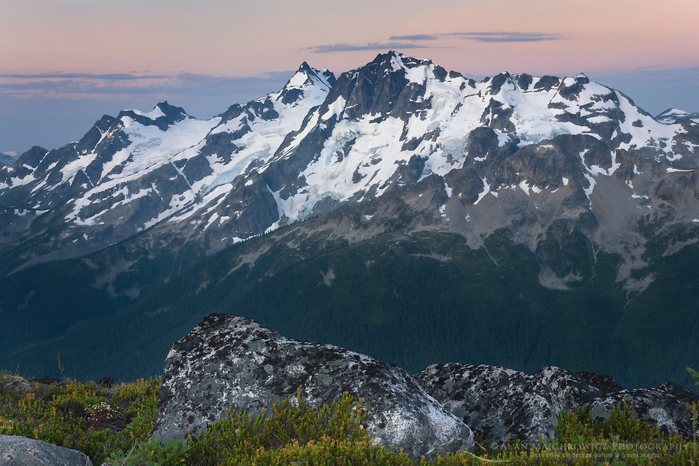 Dawn over Mount Matier (left 2783 m, 9131 ft) and Joffre Peak (2721 m, 8927 ft) seen from ridge of Mount Rohr British Columbia Canada