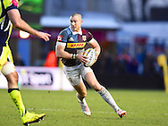 Harlequins player Mike Brown looking for a gap in the first half during the Aviva Premiership match between Harlequins and Sale Sharks at Twickenham Stoop, Twickenham, United Kingdom on 7 January 2017. Photo by Ian  Muir.during the Aviva Premiership match between Harlequins and Sale Sharks at Twickenham Stoop, Twickenham, United Kingdom on 7 January 2017. Photo by Ian  Muir.