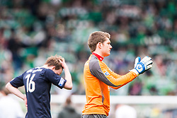 Falkirk's David Weatherston and Falkirk's keeper Michael McGovern at the end..Hibernian 4 v 3 Falkirk, William Hill Scottish Cup Semi Final, Hampden Park...