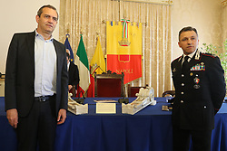 April 13, 2018 - in the picture the Mayor of Naples Luigi De MagistrisItaly - Naples April 13, this morning in the common hall there was the ceremony to return to the City of Naples some artistic assets stolen from the altar of the ''Temple of the Scorziata'' in 1994 and rediscovered by the Carabinieri Nucleo Tutela Cultural Heritage of Perugia  (Credit Image: © Fabio Sasso via ZUMA Wire)