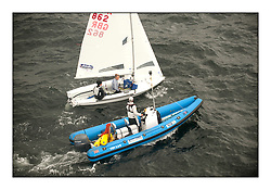 470 Class European Championships Largs - Day 1.Racing in grey and variable conditions on the Clyde..GBR0, Sophie WEGUELIN, Sophie AINSWORTH, Royal Lymington Yacht Club , Coach Steve Irish