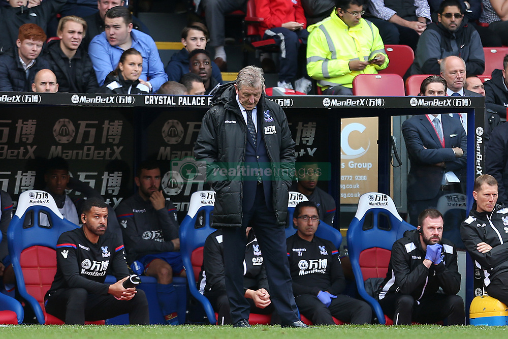 Crystal Palace manager Roy Hodgson lookds dejected shortly before the final whistle