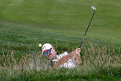 June 11, 2019 - Pebble Beach, CA, U.S. - PEBBLE BEACH, CA - JUNE 11: PGA golfer Rory Sabbatini  hits out of a sand trap on the 18th hole during a practice round for the 2019 US Open on June 11, 2019, at Pebble Beach Golf Links in Pebble Beach, CA. (Photo by Brian Spurlock/Icon Sportswire) (Credit Image: © Brian Spurlock/Icon SMI via ZUMA Press)