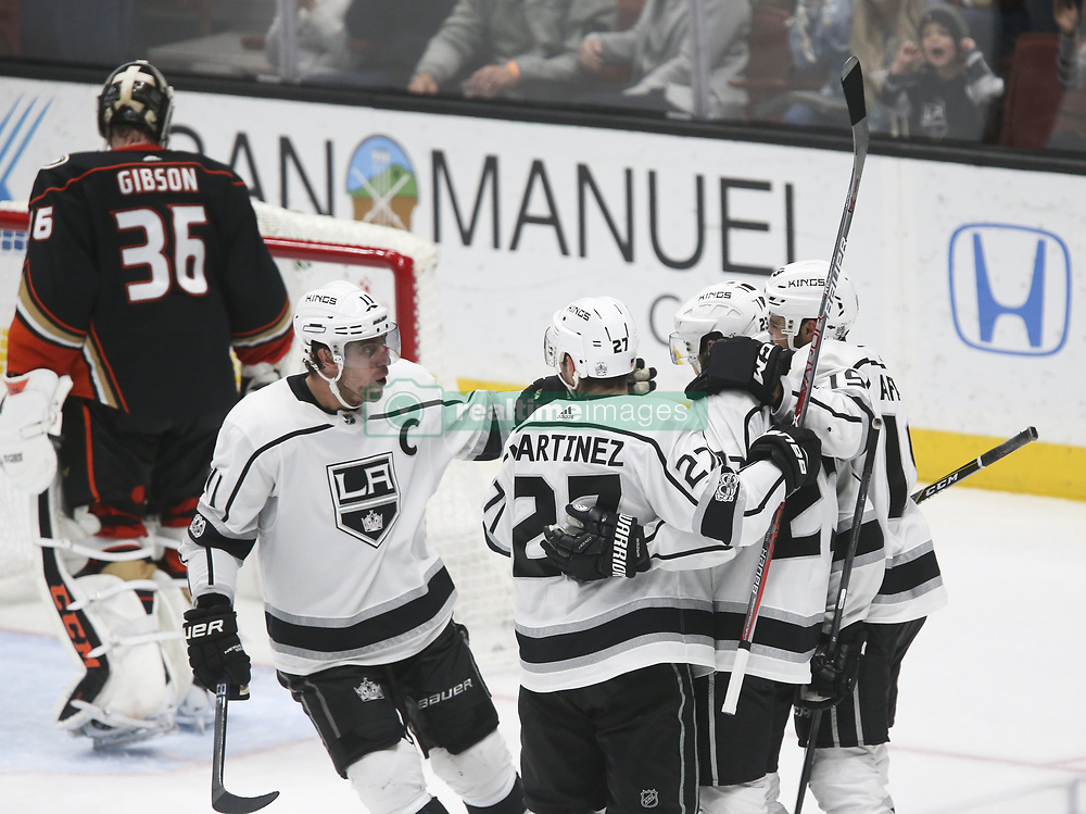 November 7, 2017 - Los Angeles, California, U.S - Los Angeles Kings players celebrate their goal during a 2017-2018 NHL hockey game in Anaheim, California on Nov. 7, 2017. Los Angeles Kings won 4-3 in overtime. (Credit Image: © Ringo Chiu via ZUMA Wire)