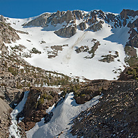A waterfall tumbles into Lee Vining Canyon near the Tioga Pass entrance to Yosemite National Park.