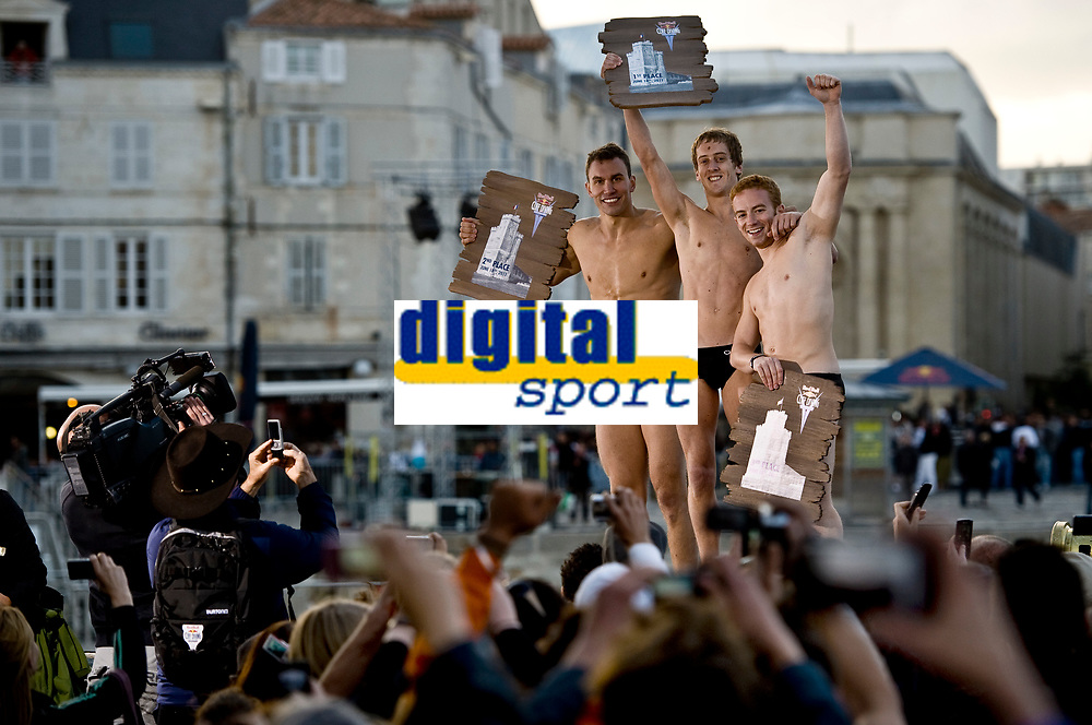 DIVING - RED BULL CLIFF DIVING 2011 - LA ROCHELLE (FRA) - 16 TO 18/06/2011 - PHOTO : VINCENT CURUTCHET / DARK FRAME / DPPI - Michal Navratil (cze) / 2nd Gary Hunt (uk) and Alan Kohl (lux) celebrate  on the of the fourth stop of the Red Bull Cliff Diving World Series at La Rochelle, France on June 18th 2011.
