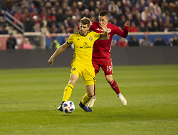 STYLEPREPENDAlex Muyl (19) of Red Bulls & Gaston Sauro (22) of Columbus Crew SC fight for ball during 2nd leg MLS Cup Eastern Conference semifinal game at Red Bul Arena Red Bulls won 3 - 0 agregate 3 - 1 and progessed to final  (Credit Image: © Lev Radin/Pacific Press via ZUMA Wire)