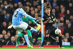 Yaya Toure of Manchester City fires a shot at goal  - Mandatory byline: Matt McNulty/JMP - 07966386802 - 12/04/2016 - FOOTBALL - Etihad Stadium -Manchester,England - Manchester City v Paris Saint-Germain - UEFA Champions League - Quarter Final Second Leg