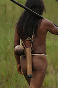 Huaorani Indian, Eweginto Tega going hunting with his blowgun.<br /> Bameno Community. Yasuni National Park.<br /> Amazon rainforest, ECUADOR.  South America<br /> This Indian tribe were basically uncontacted until 1956 when missionaries from the Summer Institute of Linguistics made contact with them. However there are still some groups from the tribe that remain uncontacted.  They are known as the Tagaeri & Taromenane. Traditionally these Indians were very hostile and killed many people who tried to enter into their territory. Their territory is in the Yasuni National Park which is now also being exploited for oil.