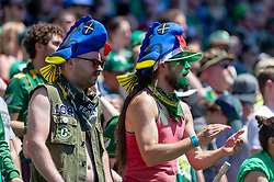 May 13, 2018 - Portland, OR, U.S. - PORTLAND, OR - MAY 13:  Portland Timbers fans sport ''dead fishes'' as hats as part of the colorful rivalry maintained by the two clubs that reached their 100th game on May 13, 2018, at Providence Park in Portland, OR. (Photo by Diego Diaz/Icon Sportswire) (Credit Image: © Diego Diaz/Icon SMI via ZUMA Press)