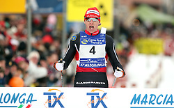 MARCIALONGA 2010 ..© Pierre Teyssot / Sportida.com..Oskar SVARD (SWE)  at the finish of the 37th Marcialonga on 31/01/2010, 2010 in Predazzo - Cavalese, Italy. Oskar SVARD (SWE) ended first after 3 hours and 2 minutes of competitions and 70 km. The first Slovenian, Andraz Vehovar ended at the position 992..