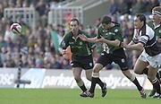 Sport - Rugby 27/04/2002 Parker Pen Shield - Semi-Final<br />London Irish vs Pontypridd - Kassam Stadium - Oxford<br />[L] Hentie Martens, and Barry Everitt have their eyes', on the ball,