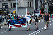 The Log Cabin Republicans march in support of gay rights, the only Republican contingent in the parade.