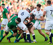 England centre  Johnny Williams holds up Ireland prop Andrew Porter during the World Rugby U20 Championship Final   match England U20 -V- Ireland U20 at The AJ Bell Stadium, Salford, Greater Manchester, England onSaturday, June 25, 2016. (Steve Flynn/Image of Sport)