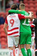 Doncaster Rovers forward John Marquis walks off at full time with Doncaster Rovers goalkeeper Marko Marosi during the EFL Sky Bet League 1 match between Doncaster Rovers and Bradford City at the Keepmoat Stadium, Doncaster, England on 22 September 2018.