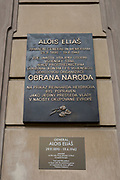 The memorial to Alois Elias outside Kolovrat Palace, on 18th March, 2018, in Prague, the Czech Republic. The commemorative plaque on the Kolovrat Palace building describes where members of Obrana Naroda (ON) (Defence of the Nation), WW2 Czech resistance members liaised, and to pre-war Czech government statesman Alois Elias, executed by the Nazis in retaliation of the assassination of Reinhard Heydrich.