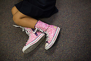 Third grader Marianne Antiporta wears pink converse shoes during the first day of school in Laura Polden's class at Zanker Elementary School in Milpitas, California, on August 19, 2013. (Stan Olszewski/SOSKIphoto)