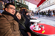 Masatsugu Okutani, 41 works for Japanese food company Ajinomoto for whom he is the Marketing manager responsible for the Cos sales throughout Europe stops for a coffee i Saint German de Pres with friend Sarah, Paris.