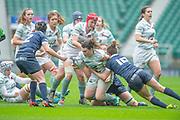 Twickenham, Surrey, 12th December 2019, Laura BLEEN, tackled during The Women's Varsity Match, Oxford University vs Cambridge University, RFU Stadium, England.  <br /> <br /> [Mandatory Credit; Peter SPURRIER/Intersport Images]