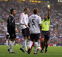 Photo: Paul Thomas.<br /> England v Andorra. European Championships 2008 Qualifying. 02/09/2006.<br /> <br /> Wes Brown (5) of England recieves a red card.