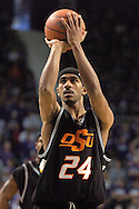 Oklahoma State guard Jameson Curry puts up a foul shot against Kansas State at Bramlage Coliseum in Manhattan, Kansas, February 4, 2006.  The Cowboys  defeated K-State 63-61.