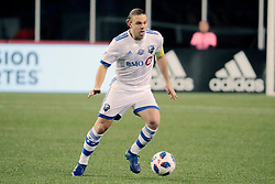 April 28, 2018 - Foxborough, MA, U.S. - FOXBOROUGH, MA - APRIL 06: Montreal Impact midfielder Samuel Piette (6) looks for help during a match between the New England Revolution and the Montreal Impact on April 6, 2018, at Gillette Stadium in Foxborough, Massachusetts. The Revolution defeated the Impact 4-0. (Photo by Fred Kfoury III/Icon Sportswire) (Credit Image: © Fred Kfoury Iii/Icon SMI via ZUMA Press)