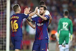 August 7, 2017 - Barcelona, Spain - Lionel Messi of FC Barcelona celebrates with Gerard Deulofeu after scoring a goal during the 2017 Joan Gamper Trophy football match between FC Barcelona and Chapecoense on August 7, 2017 at Camp Nou stadium in Barcelona, Spain. (Credit Image: © Manuel Blondeau via ZUMA Wire)
