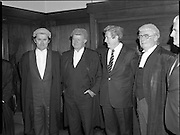 An Tanaiste Called To The Bar.  (P2)..1981..16.11.1981..11.16.1981..16th November 1981..An Tanaiste, Mr Michael O'Leary TD was called to the Bar at The Supreme Court in Dublin today...Image shows An Tanaiste Michael O'Leary with Justice Henchy, An Taoiseach, Garret Fitzgerald and Chief Justice Michael O'Higgins after Mr O'Leary was called to the Bar.